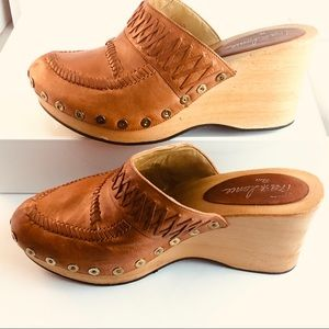 FreeLance Paris Leather & Wood Clogs/Mules 41